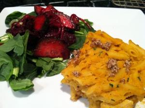 vegan mac and beet cuc salad